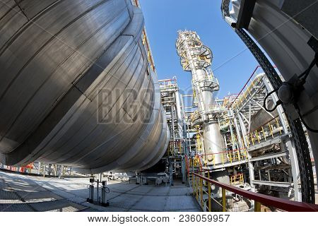 View Of The Equipment For Purification Of Oil And Oil Products From Impurities At The Refinery