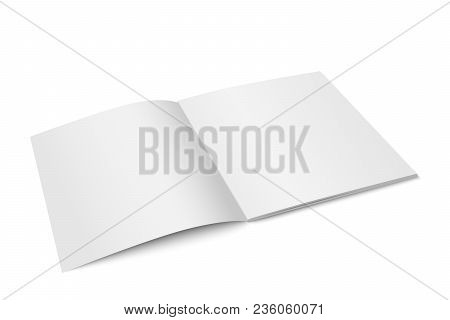 Vector White Mock Up Of Magazine Isolated. Opened Square Magazine, Brochure, Book Or Notebook Templa