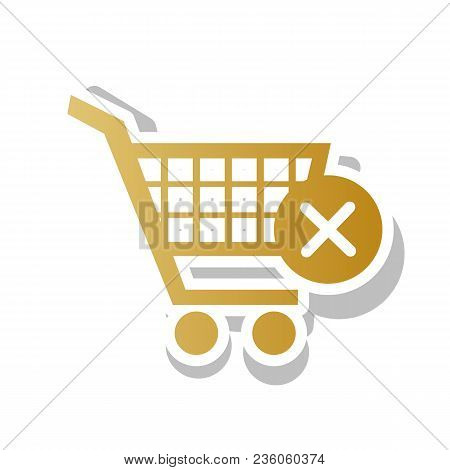 Shopping Cart With Delete Sign. Vector. Golden Gradient Icon With White Contour And Rotated Gray Sha
