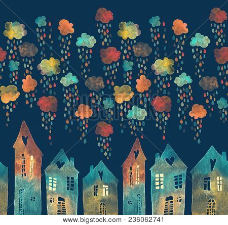 Seamless Pattern With A Town Under The Rainy Clouds. Colorful Raindrops Falling On The Roofs, Painte