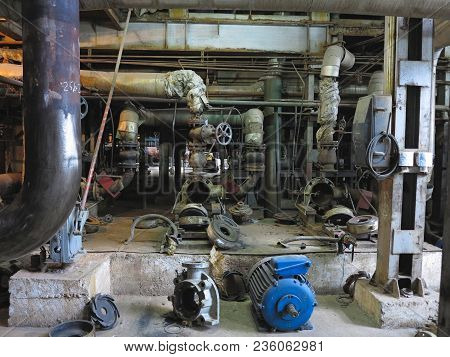 Electric Motor Water Pump Under Repair Process At Power Plant