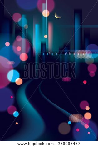Blurred Street Lights, Urban Abstract Background. Effect Vector Beautiful Background. Big City Night