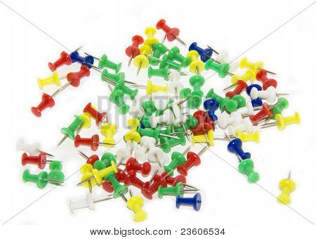 red, blue, green, yellow and white pushpins