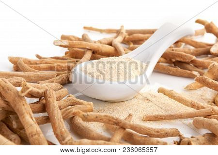 Ashwagandha Powder With Roots. Superfood Remedy. Natural Alternative Medicine.