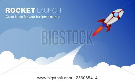Rocket Ship In A Cartoon Style.vector Illustration With 3d Flying Rocket.space Rocket Launch.project