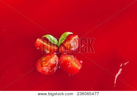 Tomato Ketchup With Tomatoes And Basil From Above. Seamless Red Ketchup Backdrop. Culinary Cooking.