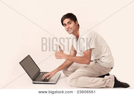 Laptop guy thumbs up