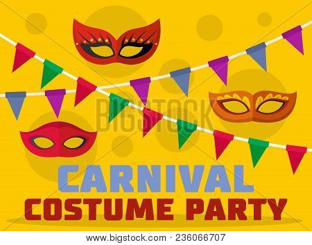 Costume Party Logo. Flat Illustration Of Costume Party Vector Logo For Web