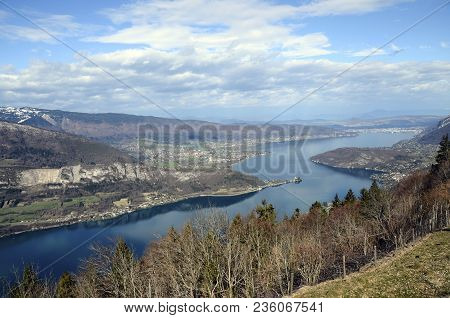 Large View Of Annecy Lake And Mountains From Forclaz Pass, France