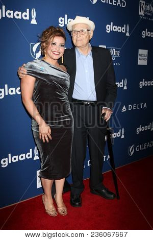 LOS ANGELES - APR 12:  Justina Machado, Norman Lear at GLAAD Media Awards Los Angeles at Beverly Hilton Hotel on April 12, 2018 in Beverly Hills, CA