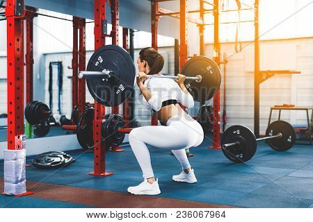 Back View Young Adult Girl Doing Squat In Gym With Barbell. Fit Woman In Great Shape. The Developmen