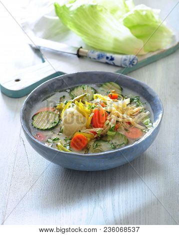 Italian Fresh Summer Vegetable Soup Sprinkled With Cheese