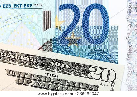 Twenty Dollar And Twenty Euro Banknotes. High Resolution Photo.