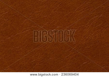 Contrast Leather Texture In Usual Brown Colour. High Resolution Photo.