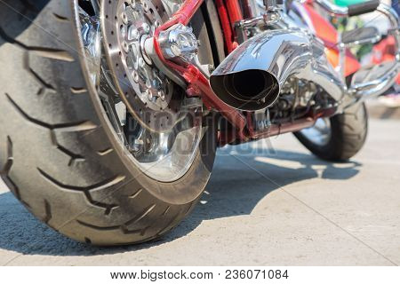 Powerful Big Motorcycle Exhaust Pipes  Closeup Photo
