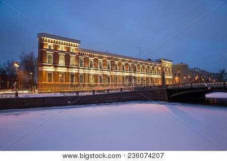 Saint Petersburg, Russia - January 30, 2018: View Of The Building Of The Naval Museum From The Side