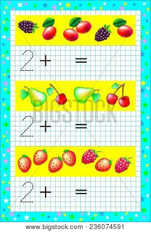 Educational Page For Children With Exercises On A Square Paper. Need To Count The Fruits And Solve E