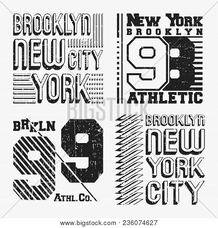 Brooklyn New York Vintage T Shirt Stamp Set. T-shirt Print Design. Printing And Badge Applique Label