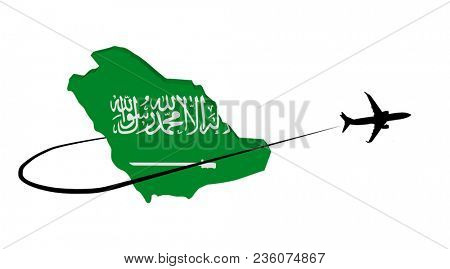 Saudi Arabia map flag with plane silhouette and swoosh 3d illustration