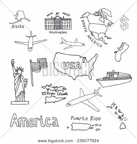 Map Of The United States Of America And Its Territories. North America, Alaska, Usa, Hawaii, Guam An