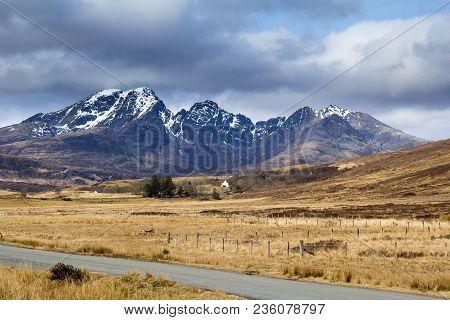 Scottish Mountain Scenery On Isle Of Skye