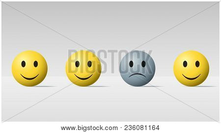 Emotional Background With Sad Face Ball Among Happy Face Balls , Vector , Illustration