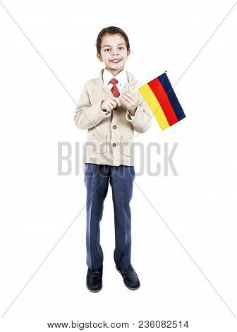 A Little Boy With Flag Of Transylvania On The White Background