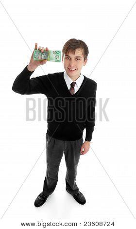 School Boy With Cash Money