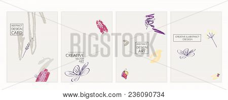 Set Of Artistic Minimal Universal Card Templates With Abstract Hand Drawn Doodles.