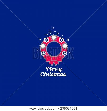 Merry Christmas Wreath Icon. Red Christmas Wreath And Snowflakes In The Blue Background.