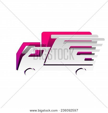 Delivery Sign Illustration. Vector. Detachable Paper With Shadow At Underlying Layer With Magenta-vi