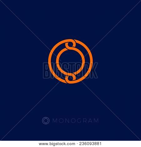 O Monogram. Circle Logo. Bound Lines Emblem On Blue Background.