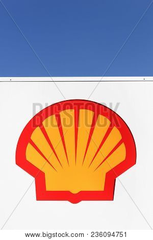 Horsens, Denmark- April 2, 2018: Shell Logo On A Gas Station. Shell Is An Anglo-dutch Multinational