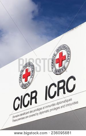 Geneva, Switzerland - October 1, 2017: Icrc Logo In English And French On A Panel. The International