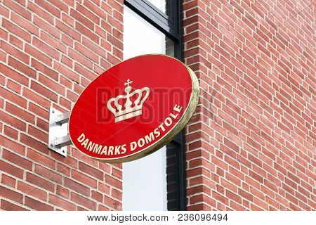 Odense, Denmark - April 4, 2018: Logo Of The Courts Of Denmark. The Courts Of Denmark Is The Ordinar