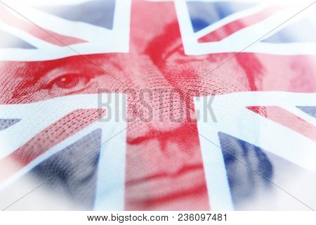 Foreign Investing With Abraham Lincoln With British Flag High Quality Stock Photo