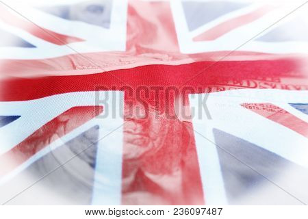 Foreign Investing With Hundreds With British Flag High Quality Stock Photo
