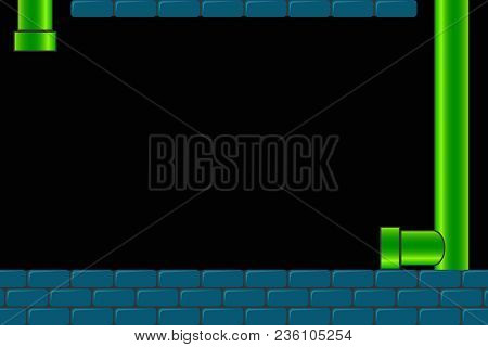 Old Arcade Video Game Background. Retro Dark Screen For Game With Bricks And Pipe Or Tube. Vector Il