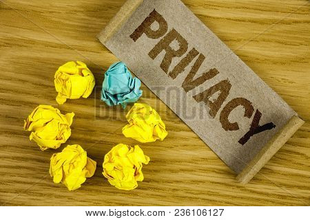 Text Sign Showing Privacy. Conceptual Photo Right To Keep Personal Matters And Information As A Secr