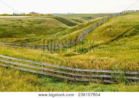Farmers Field And Rustic Fence, Kneehill County, Alberta, Canada