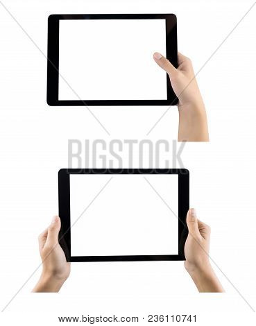 Hands Holding Tablet Computer With Hand Set Isolated. Hands Holding Tablet  Using Tablet Shopping Pa