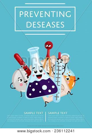 Preventing Diseases Medical Poster. Thermometer, Test Tube, Pipette, Tablet Cute Cartoon Characters,