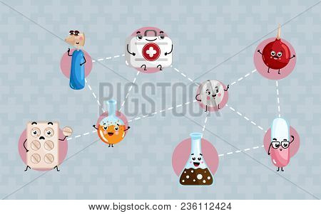Human Health Medical Poster. Test Tube, Syringe, First Aid Kit, Pills Blister Cute Cartoon Character
