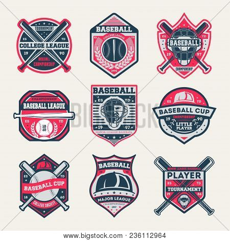 Baseball Championship Vintage Isolated Label Set. Baseball League And Tournament Symbol, Sport Colle