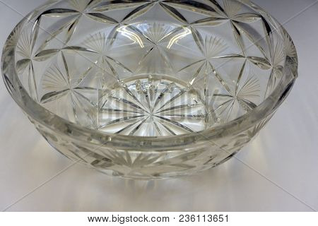 Cut Lead Crystal Bowl Vessel Vignette Vintage
