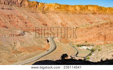 Highway Running Through Sandstone Formations In Southwest Usa
