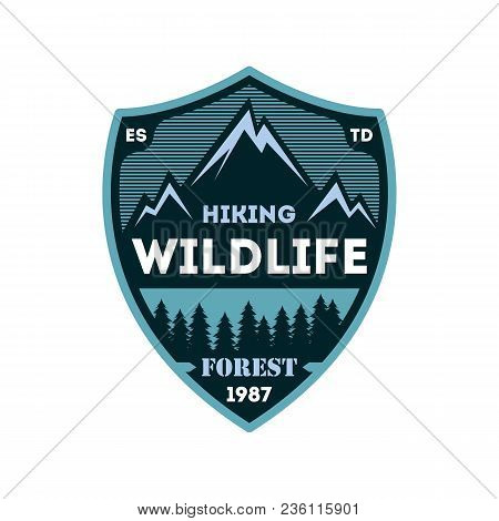 Hiking Expedition Vintage Isolated Badge. Outdoor Adventure Symbol, Mountain And Forest Explorer, To