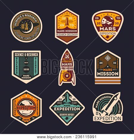 Mars Mission Retro Isolated Label Set. Space Expedition Badge, Scientific Odyssey Symbol, Modern Spa