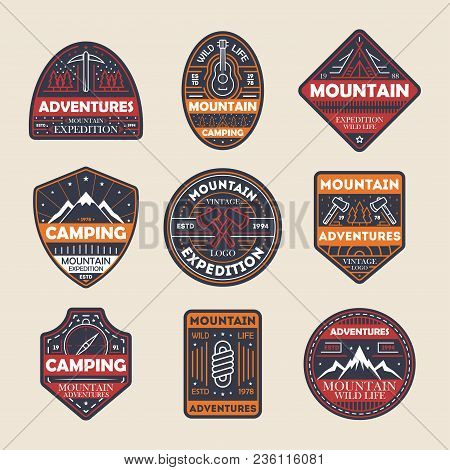 Mountain Adventures Vintage Isolated Label Set. Outdoor Hiking Expedition Symbol, Extreme Forest Exp