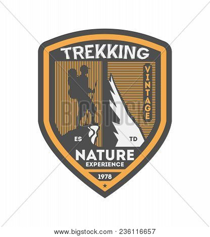 Nature Trekking Vintage Isolated Badge. Summer Camp Symbol, Mountain Explorer, Touristic Camping Lab